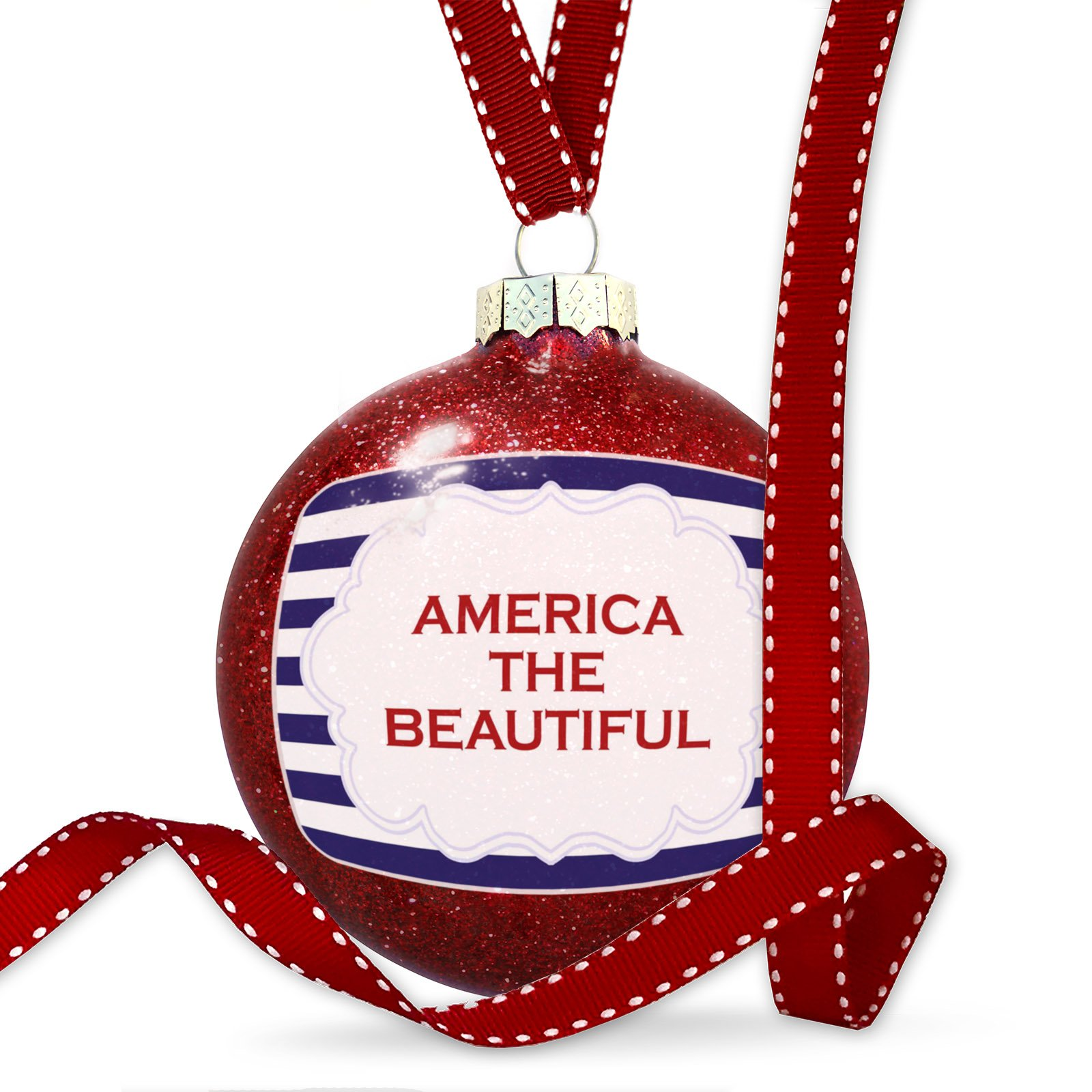 Christmas Decoration America the Beautiful Fourth of July Blue Stripes Ornament