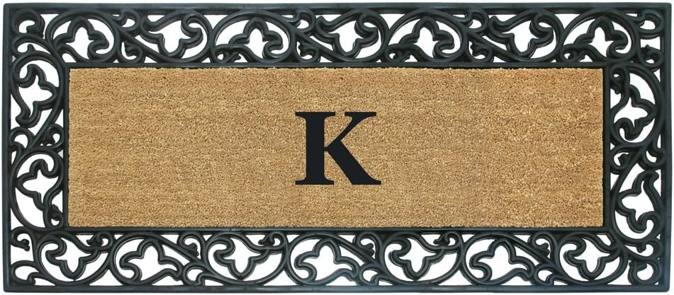 Nedia Home Acanthus Border with Rubber/Coir Doormat, 24 by 57-Inch, Monogrammed K