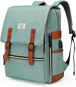 Modoker Upgraded Teal Vintage Laptop Backpack College School Bookbag for Women Men, Slim Travel Laptop Backpack with USB Charging Port Computer Bag Casual Rucksack Daypack Green