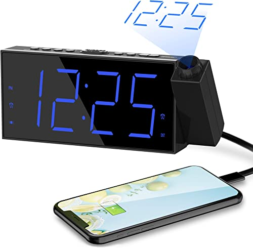 Projection Alarm Clock for Bedroom Dual Loud Digital Alarm Clock with Projection on Ceiling,180 Projector USB Phone Charger,7 Large Blue LED Number Display,Snooze ,Battery Backup Desk Atomic Clock