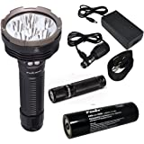 Fenix RC40 2016 Rechargeable LED Flashlight 6000 Lumens with 7800mAh rechargeable battery, Home/Car charger and 30 Lumen AAA Keychain Light