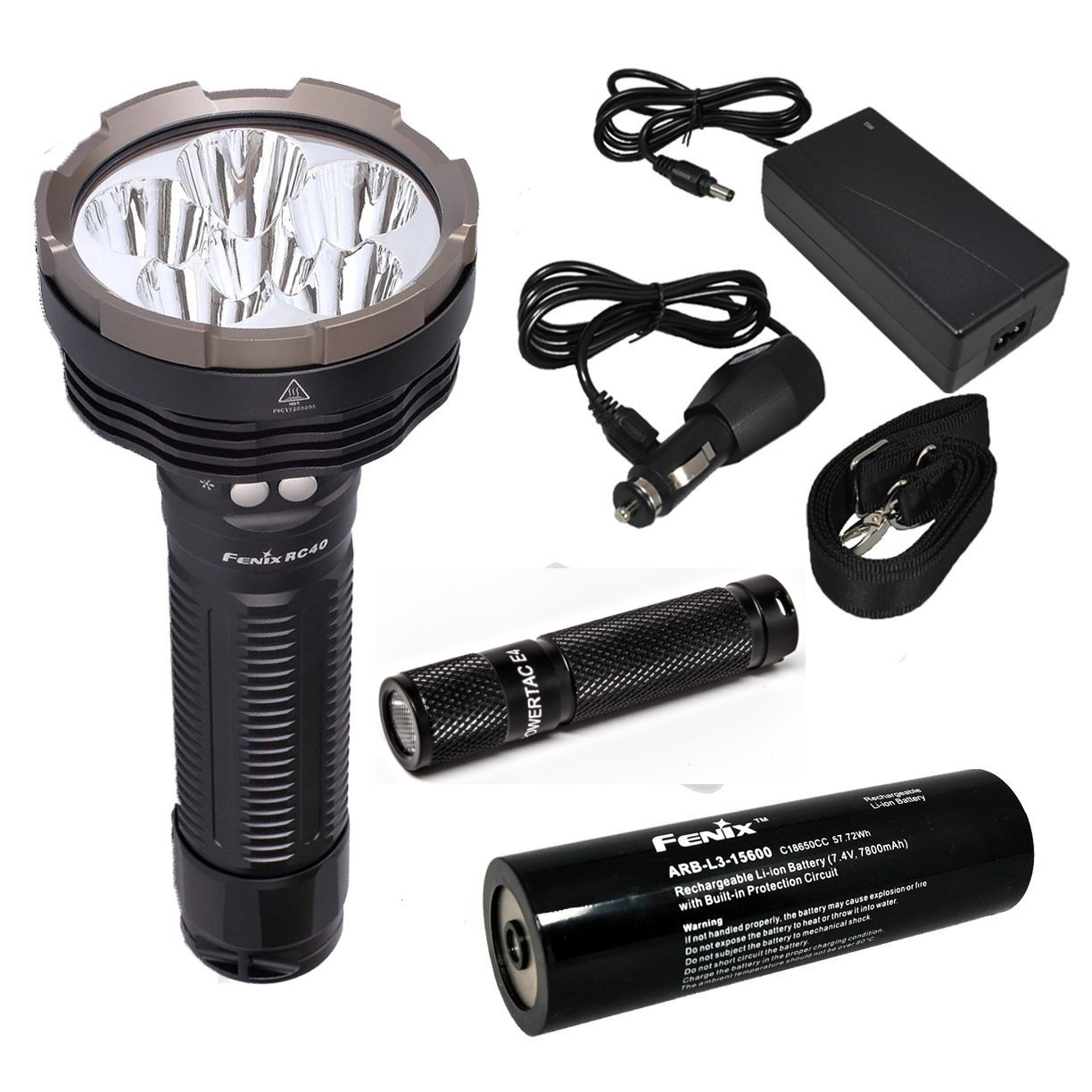 Fenix RC40 2016 Rechargeable LED Flashlight 6000 Lumens with 7800mAh rechargeable battery, Home/Car charger and 30 Lumen AAA Keychain Light by Fenix