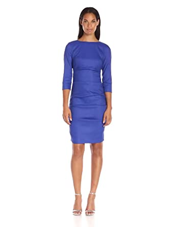 54440affbb Amazon.com  Nicole Miller Women s Lauren Stretch-Linen Sleeve Dress ...