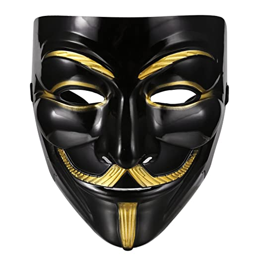 Lantusi Durable Iconic Anonymous Face Mask Black & Gold Guy Fawkes Mask Perfect Fit Cosplay V