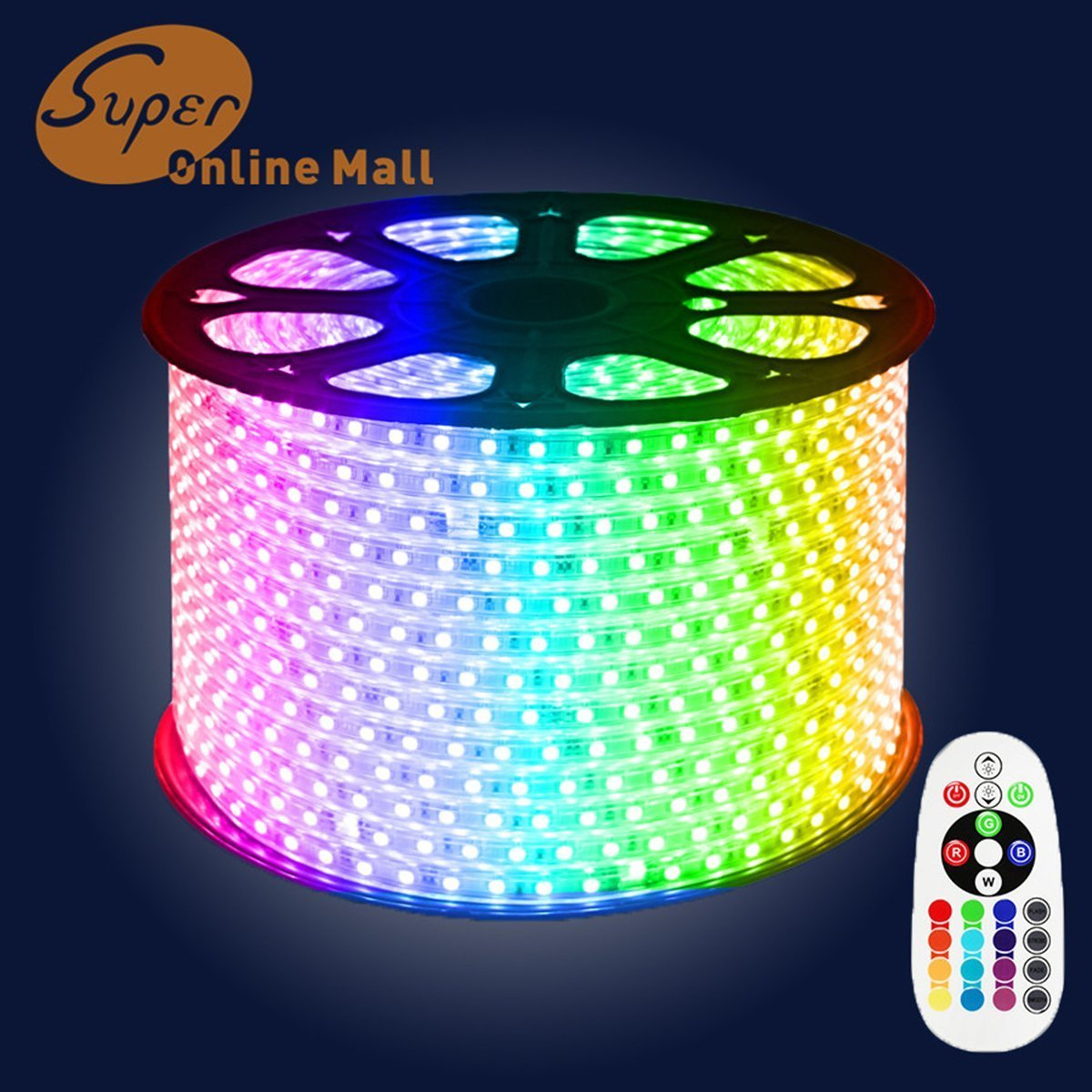 SuperonlineMall™ AC 110-120V Flexible RGB LED Strip Lights, 60 LEDs/M, Waterproof, Multi Color Changing 5050 SMD LED Rope Light + Remote Controller for Wedding Party Decoration (164ft/50m) by SuperonlineMall