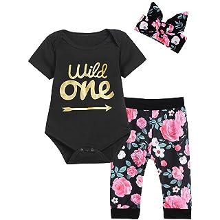 Baby Girls First Birthday Outfit Set Wild One Short Sleeve Bodysuit with Headband (12-18 Months, Black Short)
