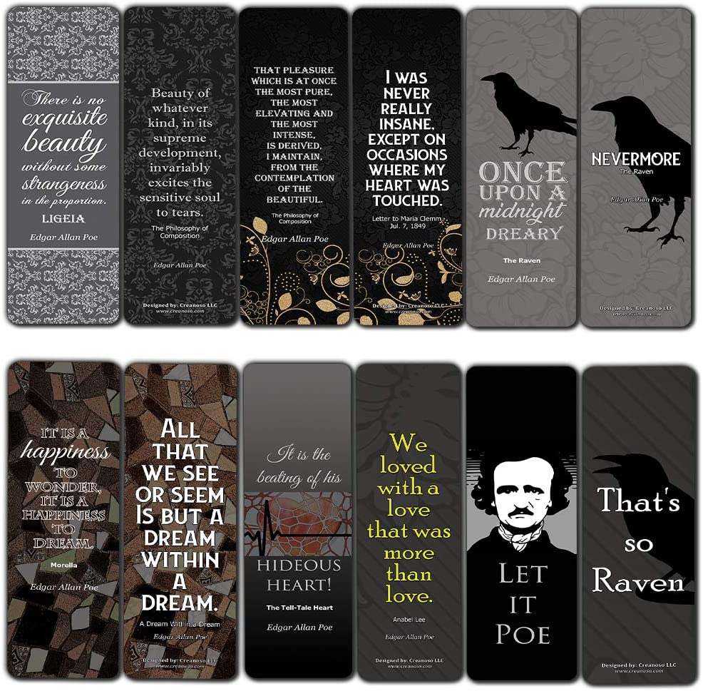 Nevermore Bookmarker Cards Series 1 (30-Pack) - Edgar Allan Poe Gifts - Classic Horror Tales Damask Humor Art Decor - Raven Poetry Bookclub Party Favors Supplies for Men Women Booklovers