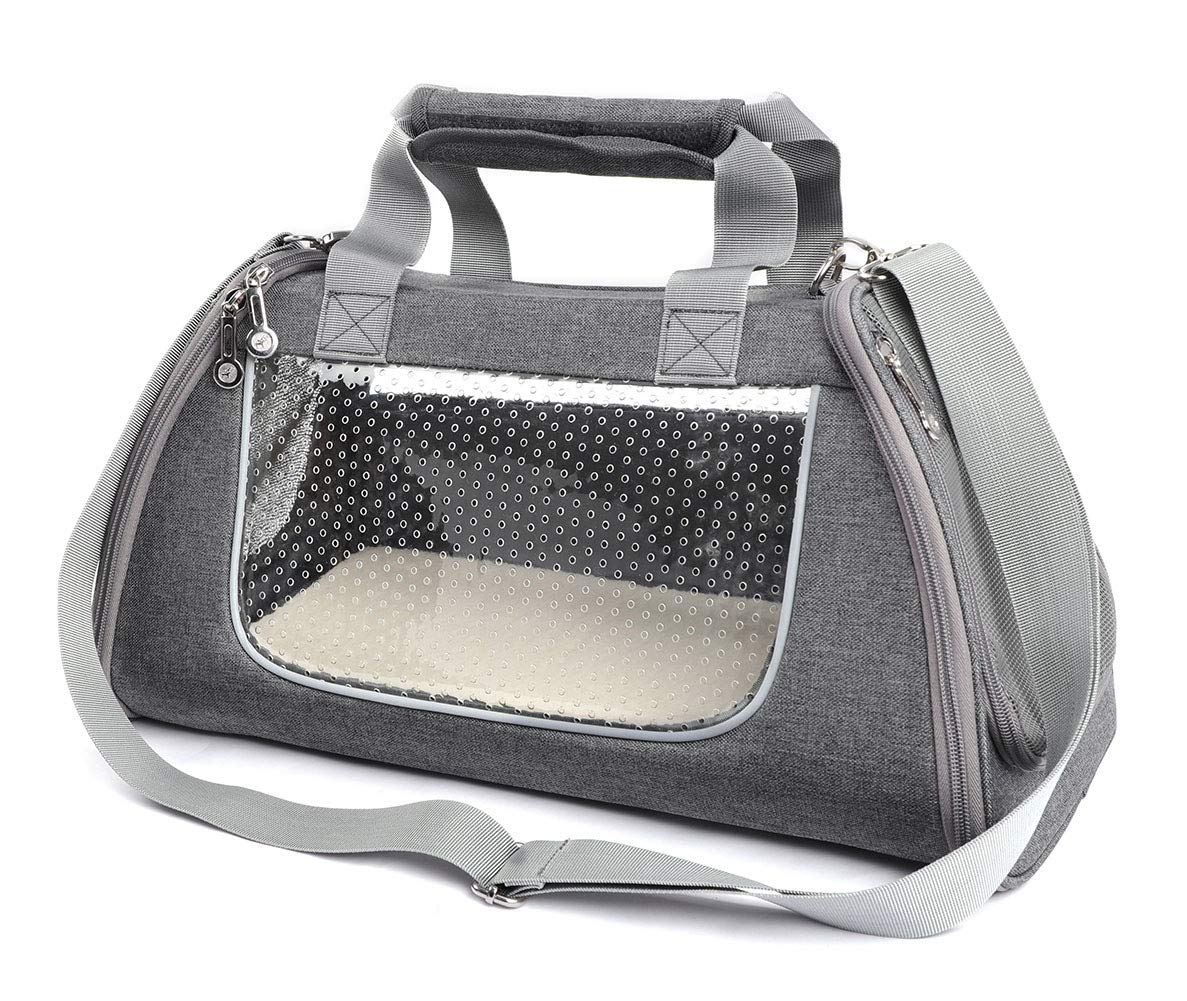 Grey LargeBETOP HOUSE Pets SoftSided Collapsible Travel Carrier Tote with Shoulder Strap and Removable Fleece Mat Airline Approved for Small Dogs and Cats (Grey, Large)