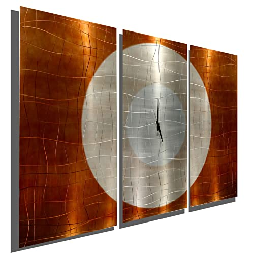 Statements2000 Large Contemporary Wall Clock with Orange, Silver Copper Jewel Tone Fusion – Modern Metal Art Wall Home Accent – Hanging Wall Clock – Endless Time Clock by Jon Allen
