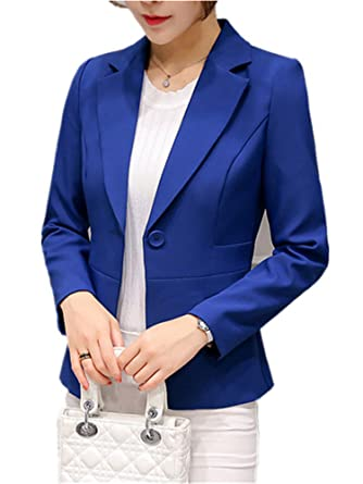 Robin Santiago Long Sleeve Blazer Women Autumn Formal Office Jacket Blazer Red Blue One Button Slim Coat at Amazon Womens Clothing store: