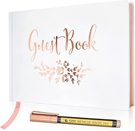 Simple Elegant Chic White Wedding Registry Guestbook with Gold Writing
