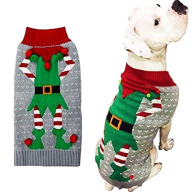 c056c4ee786e Amazon.com  HAPEE Dog Sweaters Christmas Santa Pet Cat Clothes