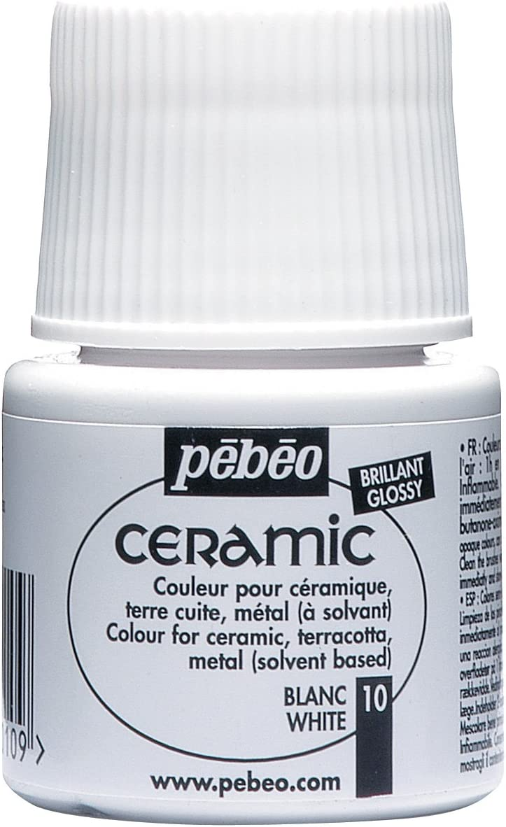 PEBEO 025-010 Ceramic, Enamel Effect Paint, 45 ml Bottle - White