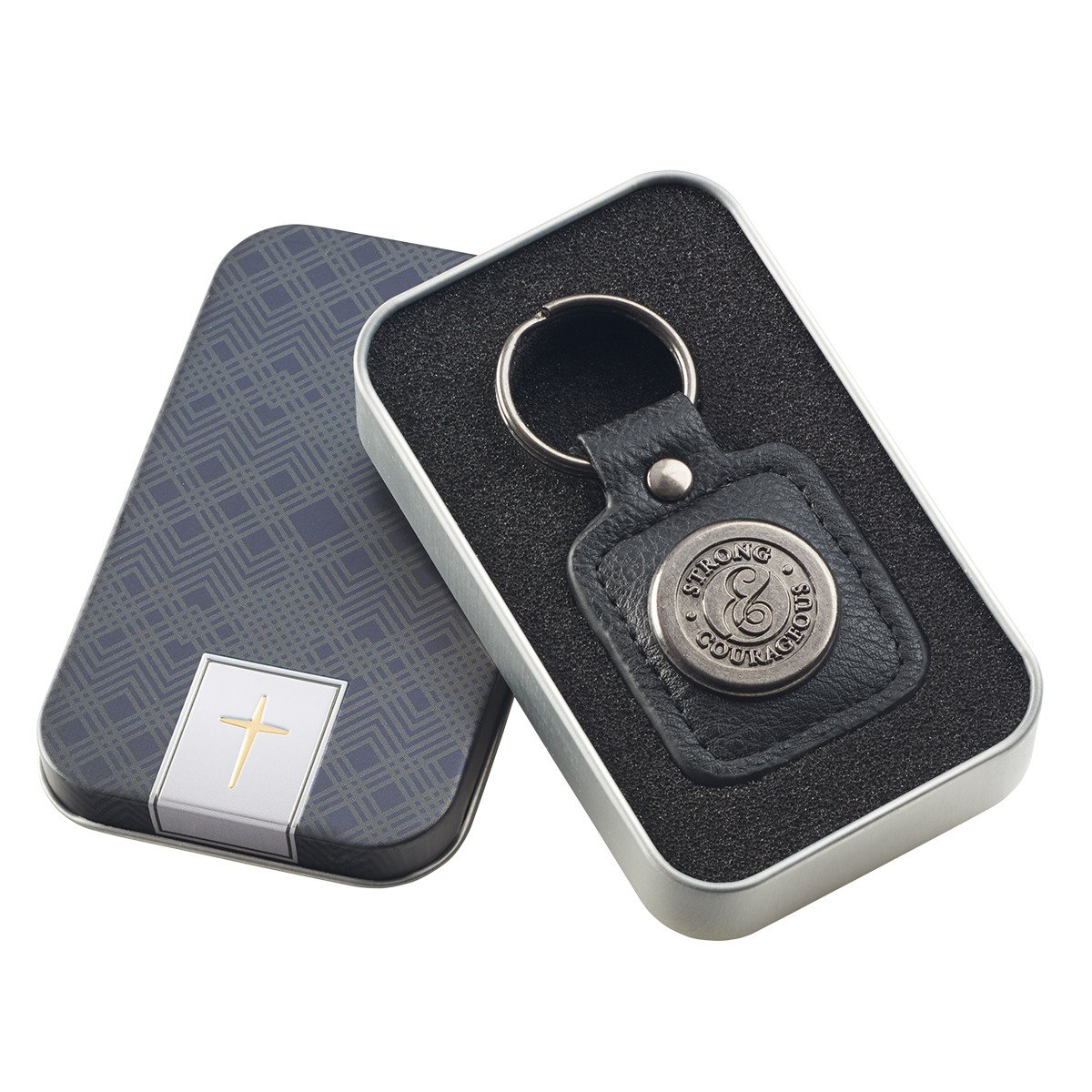 Strong and Courageous LuxLeather Keychain in Tin Gift Box 00_WCLMCNHE_02