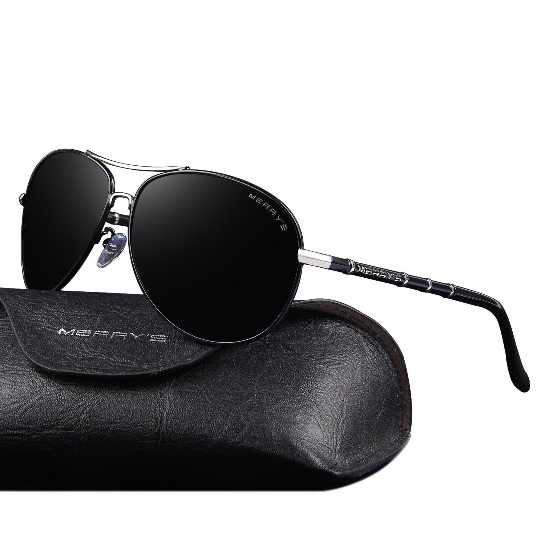 7582025966ea Amazon.com  MERRY S Polarized Sunglasses Men s Driver Glasses Bamboo Leg  S8766 (Black