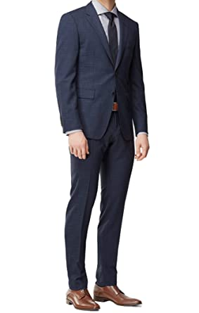 cca71ad43 Image Unavailable. Image not available for. Color: Hugo Boss Men's  'T-Royston/Wain' Dark Blue Extra Slim Fit Virgin