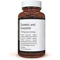 Curcuma et Curcumine 1100mg - 180 comprimés de 1100mg – Curcumine à 95% - 1000mg d'extrait de racine de Curcuma contenant naturellement des curcuminoïdes et de la curcumine à 95% - 5mg d'extrait de poivre noir augmentent l'assimilation de 300%. SKU: TUCR
