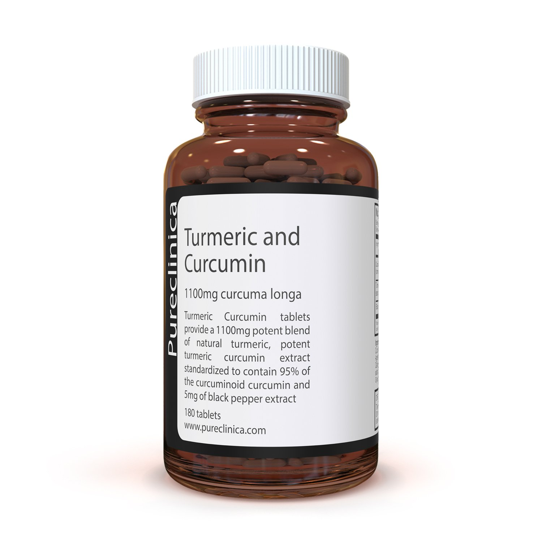 Cúrcuma Turmeric - 1000mg x 180 comprimidos - Incluyendo 95% de Curcumina - Con raíz de Cúrcuma en polvo que contiene curcuminoides - Con 5mg de extracto de ...