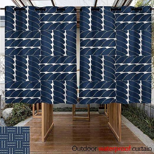 Sunnyhome Cortina de Puerta corredera Azul Marino Estilo contemporáneo Cubos Cortinas para salón: Amazon.es: Jardín