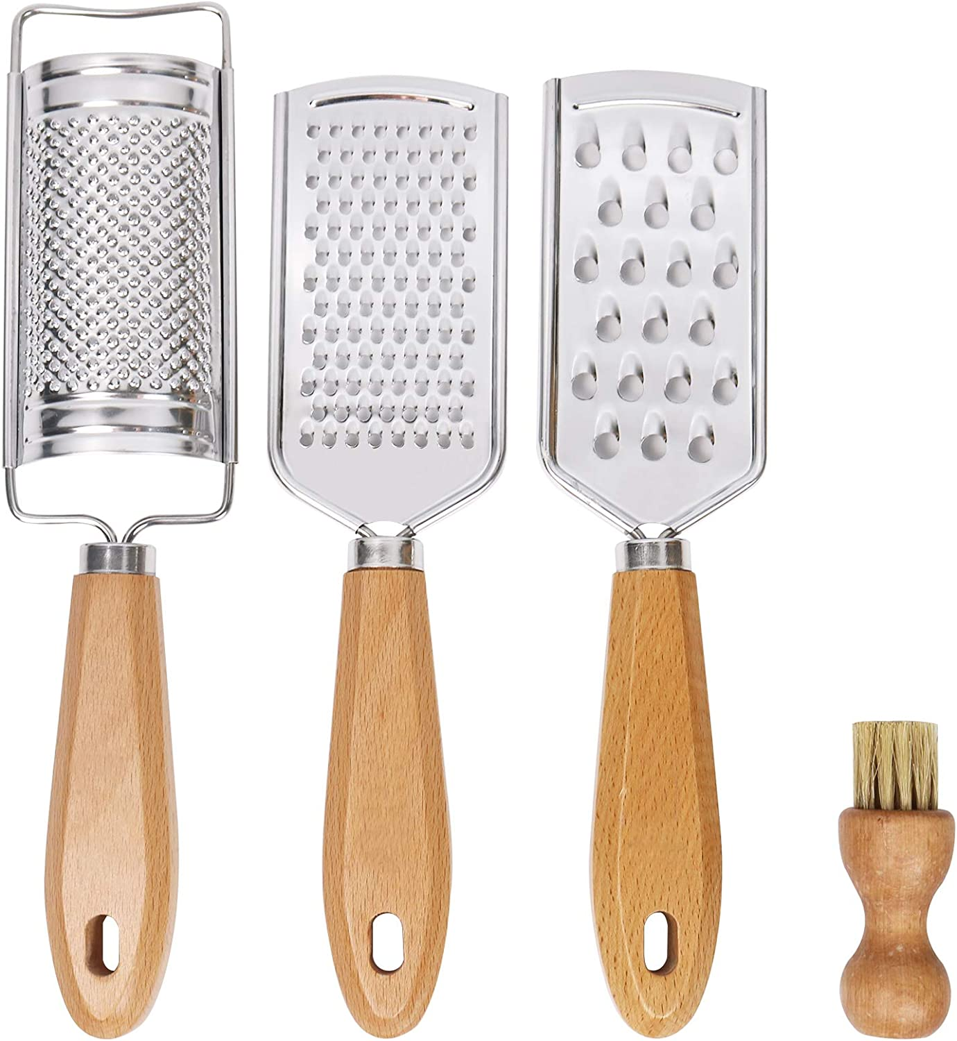Hand Held Cheese Graters with Cleaning Brush Set, Mini Stainless Steel Vegetable Grater with Wood Handle, Multi-purpose Kitchen Food Shredder for Chocolate Butter Nuts Ginger by LAIBO