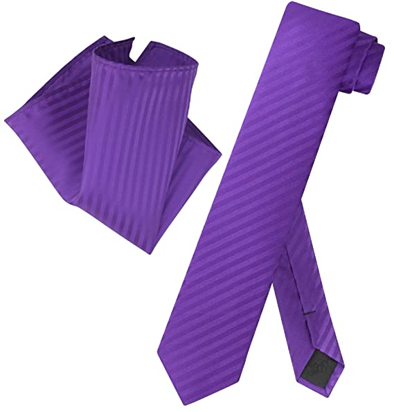 New Vesuvio Napoli Polyester Men/'s Neck Tie /& Hankie necktie Stripes purple