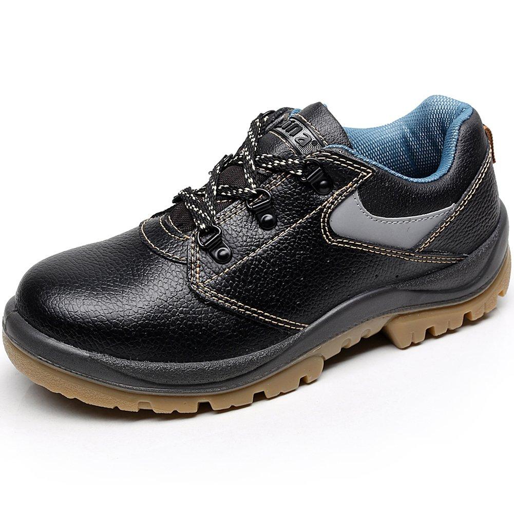 rismart Unisex Women Men Genuine Cow Leather Steel Toe Cap Groundwork Construction CST Safety Shoes