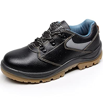 Unisex Women Men Genuine Cow Leather Steel Toe Cap Groundwork Construction CST Safety Shoes