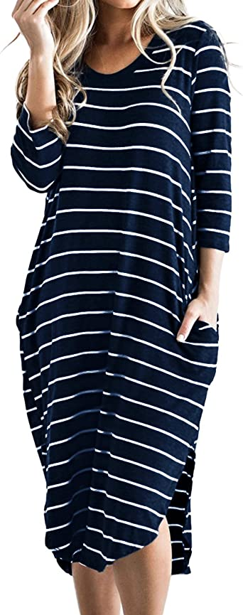 CNFIO Women T Shirt Dress Oversized 3/4 Long Sleeves Striped Boho Midi Dresses with Pocket