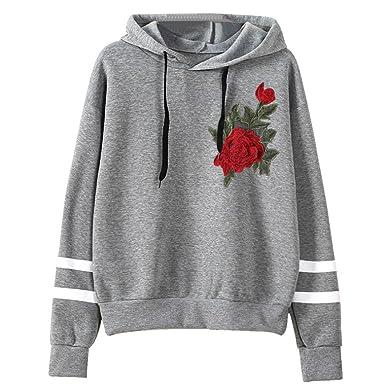 b4cece6cb63c97 Amlaiworld Sweatshirts Komfortabel locker Blumen Stickerei Sweatshirt Damen  Stripe Pullover mit Kapuzen Herbst Winter Sport Pulli
