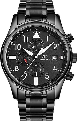 binkada moda automático mecánico esfera de color negro reloj de muñeca para hombre # 7001h01 - 1: Amazon.es: Relojes