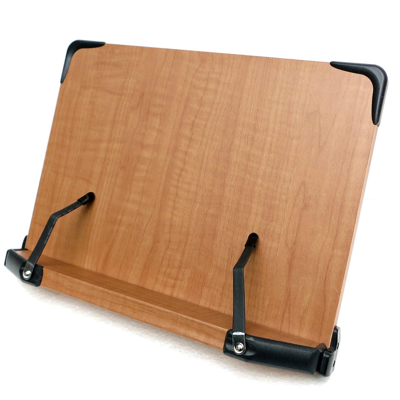 見やすい角度に14段階調節 木製ブックスタンド コンパクトサイズ(30×21cm)