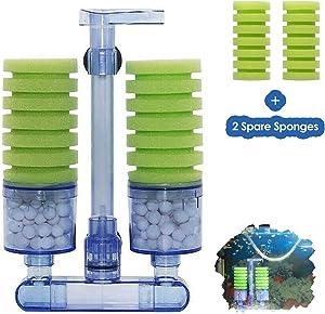 capetsma Sponge Filter Quiet Aquarium Filter, Provides Physical and Biochemical Filtration for Planted Aquarium Marine Fish Tank Filter, Spare Sponge and Bio Balls Included