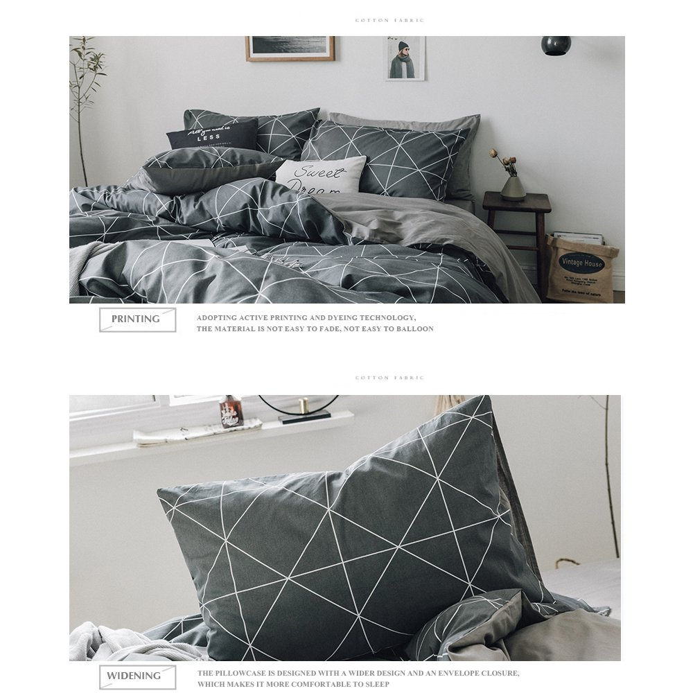 HIGHBUY Premium Cotton Full Bedding Sets Grey Comforter Cover Set Queen Duvet Cover for Boys Men Geometric Plaid Duvet Cover Full 3 Pieces Full Queen Bedding Collection,Lightweight by HIGHBUY (Image #5)