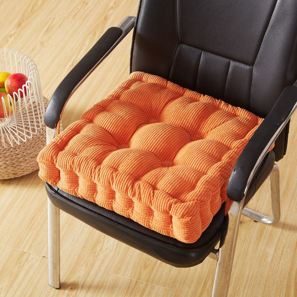 YQ WHJB Square Seat Cushions,Booster Cushion,Tatami Corduroy Thicken Universal Four Seasons Office Dining Chair pad Buttocks Cushions-Orange 2020in