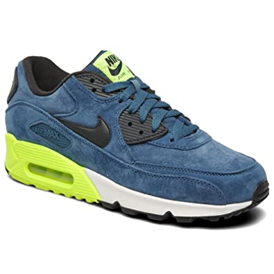 new products 13443 89fe9 Nike Air Max 90 Premium Suede - Night Factor Navy Green Volt - 333888 304  UK 12  Amazon.co.uk  Shoes   Bags