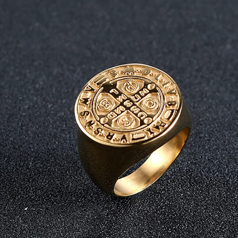 JAJAFOOK Men Gold Plated Stainless Steel Catholic St Benedict Exorcism Signet Ring Cross Band