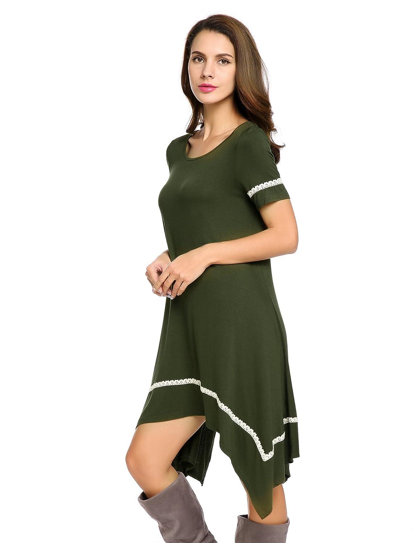 Meaneor Shirt Dress For Women Womens Casual Irregular Hem