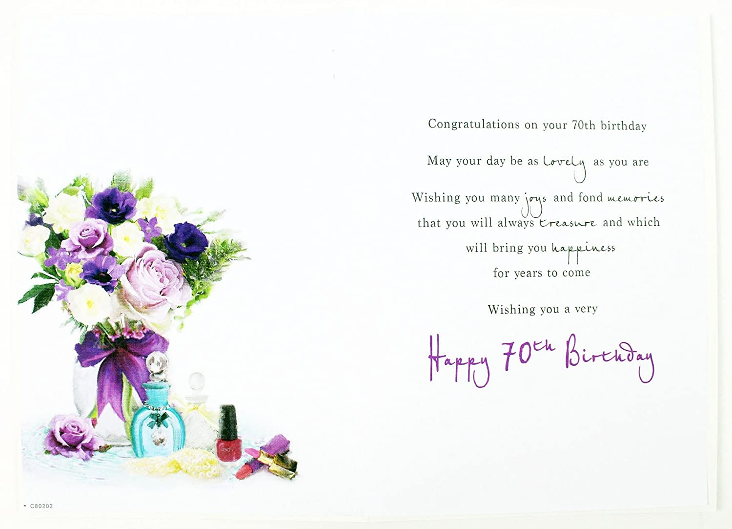 Happy 70th birthday greeting age card for ladies hallmark verse happy 70th birthday greeting age card for ladies hallmark verse flowers luxury amazon office products izmirmasajfo