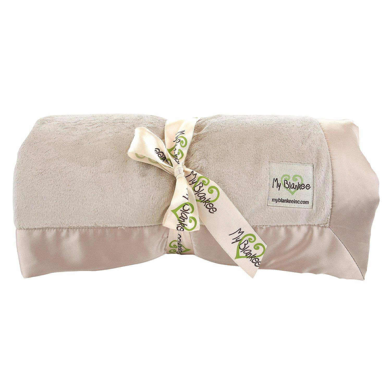My Blankee Minky Throw Blanket with Flat Satin Border, Tan, 52'' x 60''