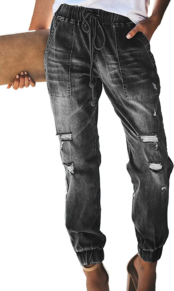 Womens Casual Ripped Denim Joggers with Elastic Waistband Drawstring Jeans Pants