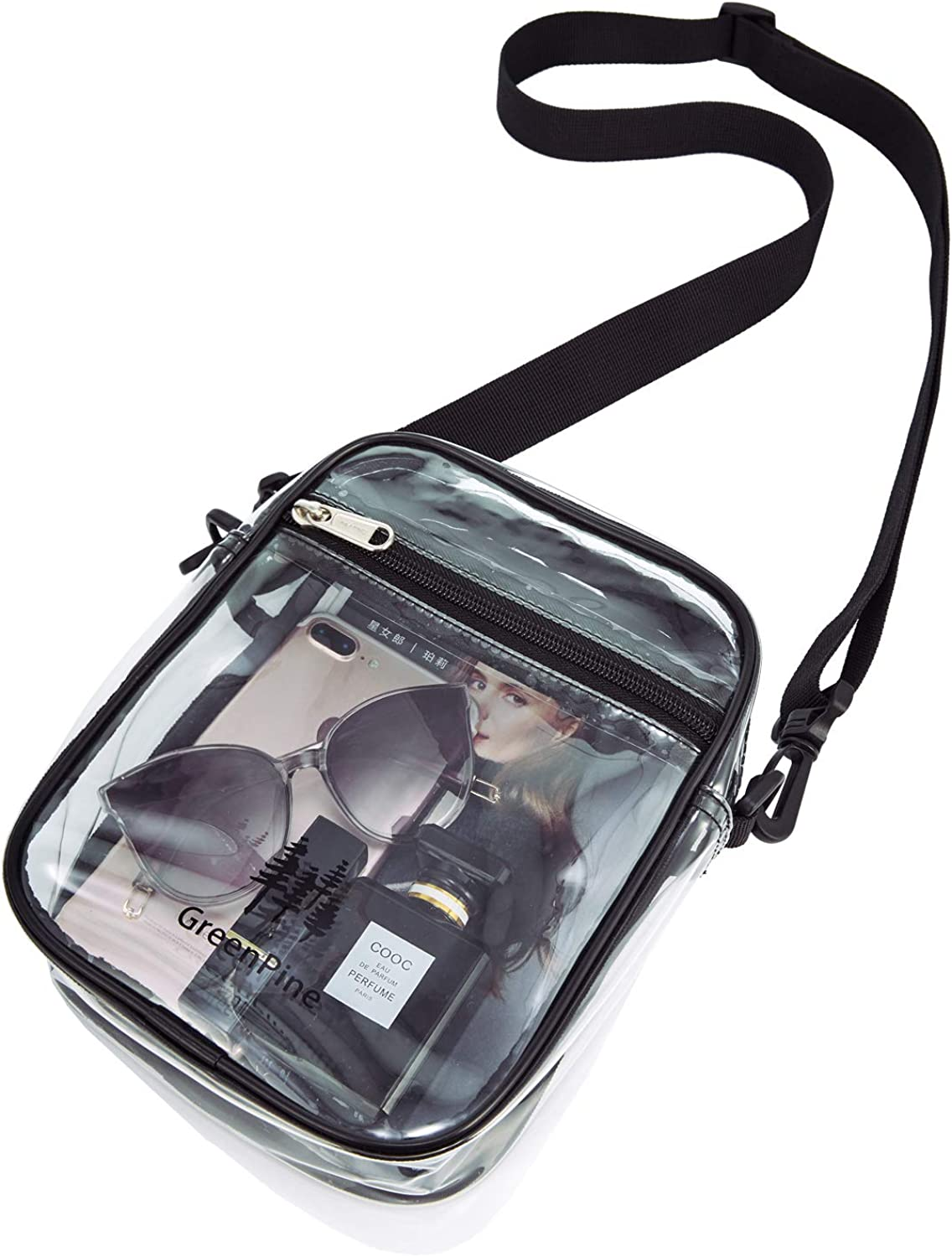 Clear Messenger Bag for Work & Business Travel for Men & Women,NFL Stadium Approved - Transparent Cross-Body Shoulder Bag for Security & Sporting Event (B-Small)