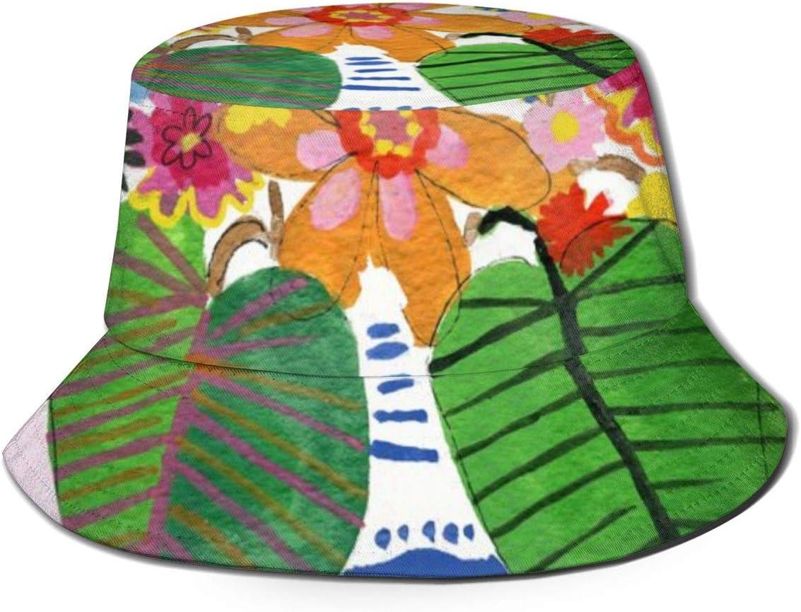 NoneBrand - Ramo de flores abstractas con parte superior plana, transpirable, sombrero de pescador unisex