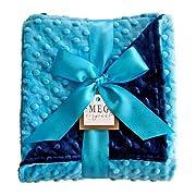 Meg Original Turquoise & Navy Minky Baby Blanket
