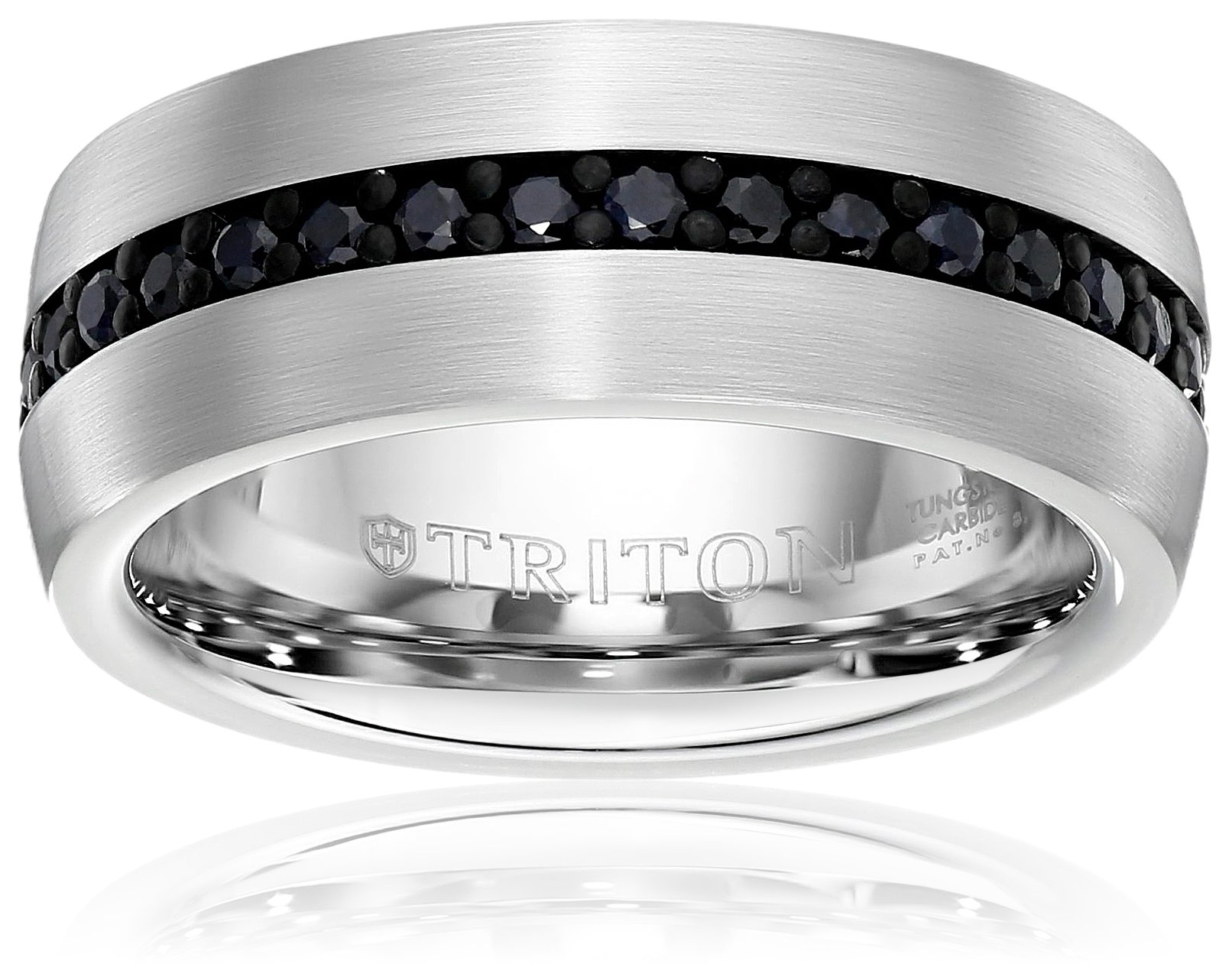 Triton Men's Tungsten 8mm Black Sapphire Wedding Band (1cttw), Size 9