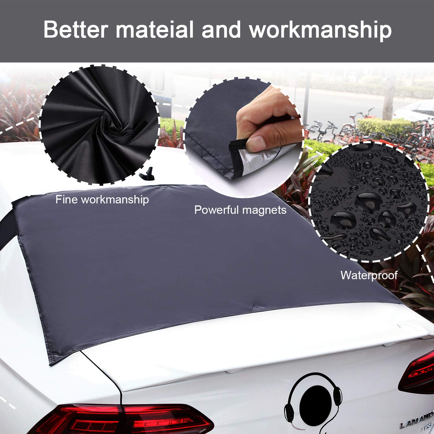 Van SUV Truck Rear Windshield Snow Cover 57.1 x 35.4 Inch Universal Ice Snow Frost Dust Car Cover Magnetic Windshield Cover Sun Shade Protector Fits Most Car