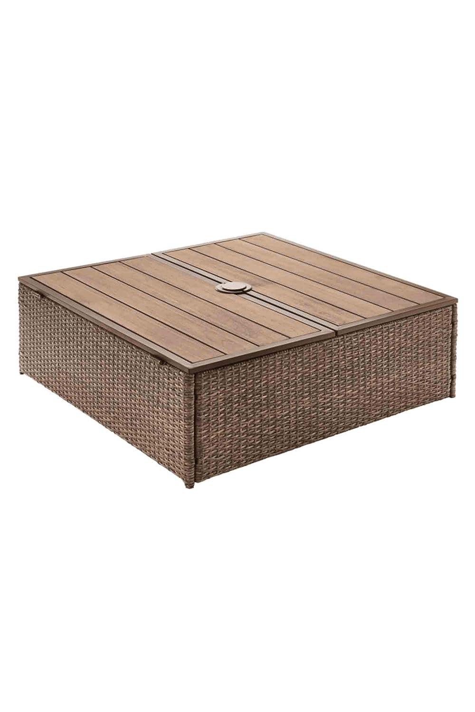 WB Geflecht Schirmständer Verkeidung - Tisch - Stauraum Eukalytptus Echtholz