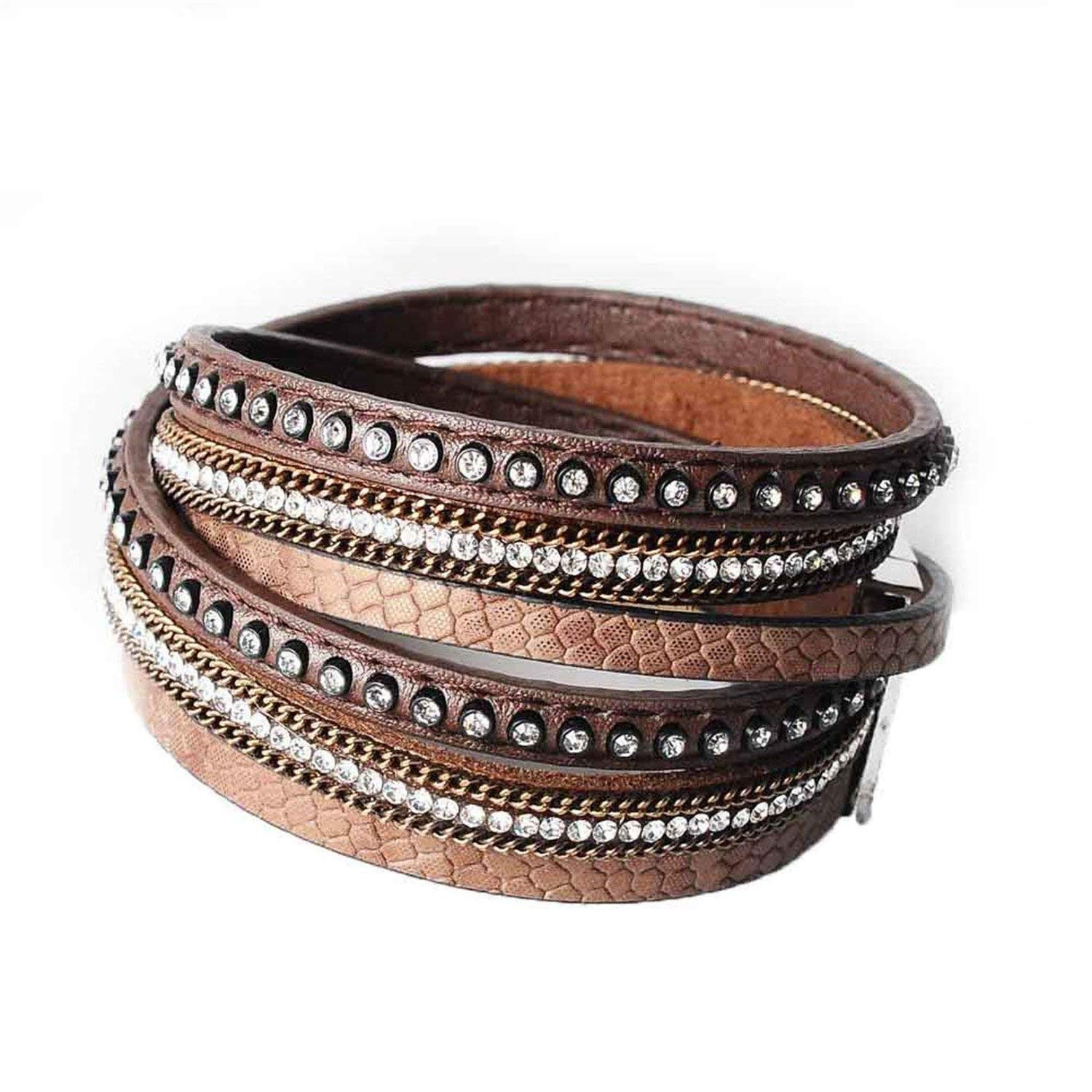 wrap Leather Bangle Charm Winter Leather Bracelet Women Jewelry BW Dropshipping,Brown by Mannerg bracelets (Image #1)