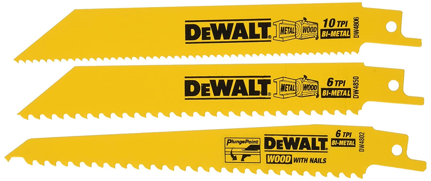 Dewalt dw4853 woodcutting reciprocating saw blade set 3 piece dewalt dw4853 woodcutting reciprocating saw blade set 3 piece amazon greentooth