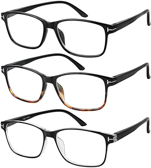 49e22965ed Amazon.com  Reading Glasses 3 Pair Stylish Quality Readers Spring Hinge  Glasses for Reading for Men and Women +1  Clothing