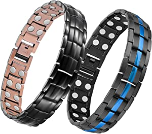 Feraco Double Row Strong Magnetic Bracelet for Men, Blue Line Magnetic Therapy Bracelet & 99.99% Pure Copper Bracelet